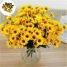 Nincs szín - 15 fej sárga hamis napraforgó műselyem virág csokor otthoni virág dekorációval