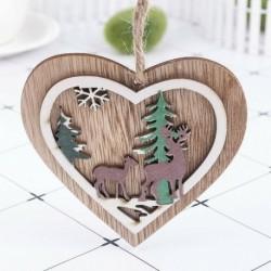 1db 10x10cm-es Szív alakú rénszarvas mintás fa dísz - Ünnepi dísz - Karácsonyi dekoráció