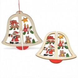 1db Harang alakú Télapó - Mikulás - Mackó - Csillag mintás fa dísz - Karácsonyi dekoráció