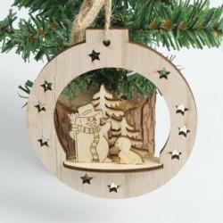 1db 10x10cm-es Karácsonyi gömb alakú Hóember - Kiskutya - Fenyőfa mintás fa dísz - Karácsonyi dekoráció