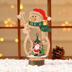 1db 18x6cm-es Télapó - Mikulás - Hóember mintás fa dísz - Karácsonyi dekoráció
