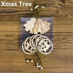 12db 13x6cm-es Rénszarvas - Karácsonyfa alakú fa dísz - Karácsonyi dekoráció