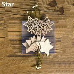 12db 13x6cm-es Csillag alakú fa dísz - Karácsonyi dekoráció