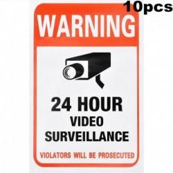 Nincs szín - 10 darabos otthoni CCTV megfigyelő biztonsági kamera videó matrica figyelmeztető matricák