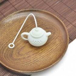 fehér - Szilikon teáskanna alakú tea infúziós szűrő tartós teazsák levélszűrő diffúzor
