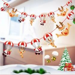 1db 2m hosszú Karácsonyi függő dekoráció - girland - Ejtőernyőző Mikulás és Rénszarvas mintás - 7