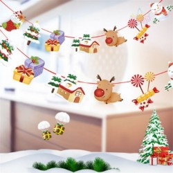 1db 2m hosszú Karácsonyi függő dekoráció - girland - Mikulás - Rénszarvas - Házikó - Ajándék mintás - 7