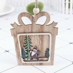 1db 10x10cm-es Ajándékdoboz alakú fa dísz - Télapó - Mikulás mintával - Karácsonyi dekoráció