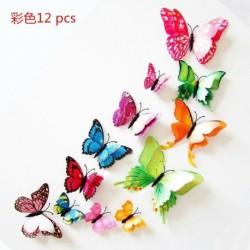 Színes - 12 db 3D-s mágneses pillangó fal matrica PVC gyermekszoba otthoni matrica dekoráció