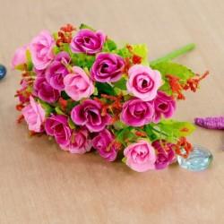 Rózsaszín - 21 fej mesterséges műanyag rózsa selyem virág esküvői csokor otthoni irodai dekor