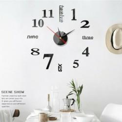 Fekete - Modern DIY nagy falióra 3D tükör felületi matrica otthoni irodai szoba dekoráció USA
