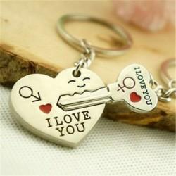Nincs szín - Valentin napi ajándék szívkulcs Szeretlek kulcstartó szett pár kulcstartó gyűrű 1 pár