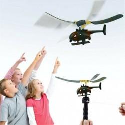 Nincs szín - Húzza húr fogantyú helikopter repülőgép repülőgép drone gyerekek szabadtéri repülő játék ajándék