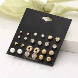 12 pár / arany készlet - 24 pár divat női strasszos kristály gyöngy fülbevaló ékszer ajándék