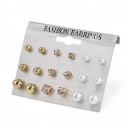 9 pár / arany készlet - 24 pár divat női strasszos kristály gyöngy fülbevaló ékszer ajándék