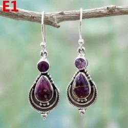 * E1 (4 * 1,7 cm) - Női ametiszt holdkő opál rubin topáz dangle csepp fülbevaló kampós ékszerek