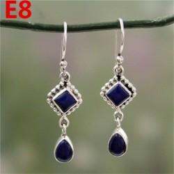 * E8 (3,7 cm x 2 cm) - Női ametiszt holdkő opál rubin topáz dangle csepp fülbevaló kampós ékszerek