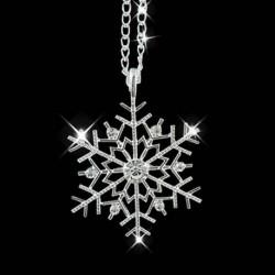 Nincs szín - Karácsonyi kristály hópehely ezüst varázsa lánc nyaklánc medál ékszer ajándék új
