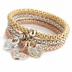 Nincs szín - Divat női 3db arany ezüst rózsa arany karkötő szett strassz karkötő ékszerek