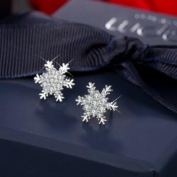 1. számú fülbevaló (1,5 cm) - Ezüst csillag hópehely strasszos kristály karácsonyi fülbevalók nyaklánc ékszer szett