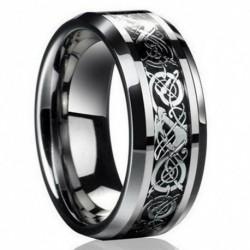 8. méret - Divat ezüst kelta sárkány titán rozsdamentes acél férfi esküvői zenekar gyűrűk