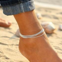 Nincs szín - Mezítlábas boka karkötő láblánc ezüst türkiz varázsa női retro ékszerek
