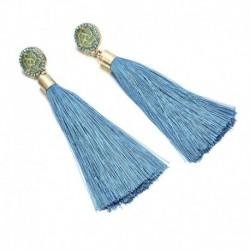 * 19 Kék - Női színes bohém fülbevalók nyári hosszú bojt béren kívüli Boho Dangle fülbevalók