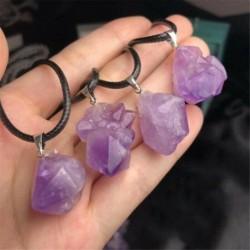Nincs szín - Természetes kristály ametiszt durva ásványi anyag szikla medál nyaklánc