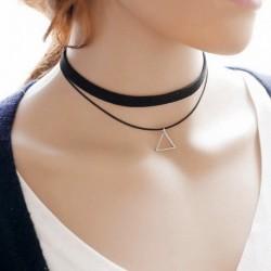 Nincs szín - Divat Csehország fekete bőr fojtó nyaklánc háromszög báj medál ékszerek új