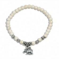 Nincs szín - Divat türkiz gyöngyök Tibet ezüst elefánt báj medál medál rugalmas karkötő