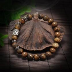 Barna gyöngyök, ezüst Buddha fej - Férfi természetes lávakő drágakő gyöngy karkötő Buddha fej varázsa gyöngyös