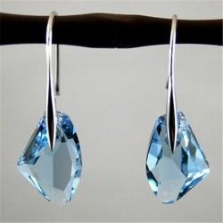 Nincs szín - Divat női Aqua kék kristály csepp ezüst horog fülbevalók party ékszerek
