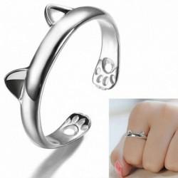 Nincs szín - Női divat ezüst aranyos macska cica füle állat design gyűrű állítható ékszerek
