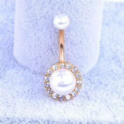 Arany - Strassz gyöngy testet átszúró ékszer labda súlyzó bár hasi gomb köldökgyűrű