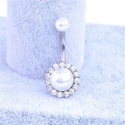Ezüst - Strassz gyöngy testet átszúró ékszer labda súlyzó bár hasi gomb köldökgyűrű