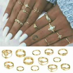 * 64 13db / Arany készlet - 15P / Set Bohém Vintage Punk Türkiz Holdkő Csülök Midi Ujj Gyűrű felett