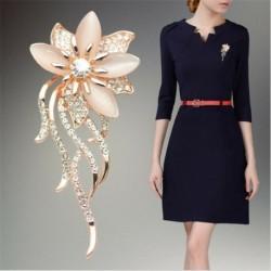 Nincs szín - Divat opál kő strassz arany virág csokor bross tű esküvői menyasszonyi ajándék
