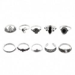 Ezüst - 10db Boho Yoga Yinyang ujj csülök gyűrűs zenekar Midi gyűrűk halmozó gyűrű szett