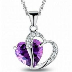 Lila szív nyaklánc - Női strasszos 925 ezüst vízcsepp szív medál esküvői nyaklánc ékszer szett