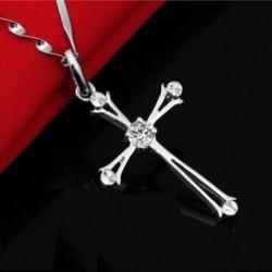 * 2 - Unisex divat 925 ezüst rozsdamentes acél kereszt medál lánc nyaklánc ékszer