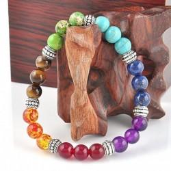 Vegyes drágakő gyógyító csakra ... - Férfi természetes drágakő gyöngy karkötő Buddha fej varázsa gyöngyös