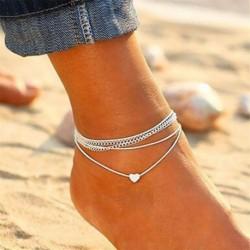 Nincs szín - Divat szerelmes szív boka karkötő láblánc 925 ezüst női tengerparti boka USA