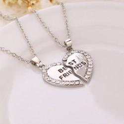 Ezüst - Legjobb barát szív arany ezüst kristály 2 medálok nyaklánc Bff barátság ékszerek