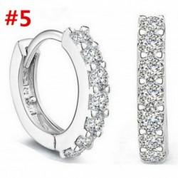 * 5 1 Pár - 925 ezüst kristály strasszos karika fülbevaló esküvői ékszer női ajándék