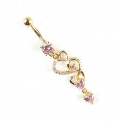 Rózsaszín - Strasszos testpiercing Dangle Crystal Navel hasgombos rúd súlyzó gyűrűk