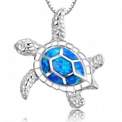 * 7 - 925 ezüst kék opál tengeri teknős kivágás medál pulóver lánc nyaklánc ékszer
