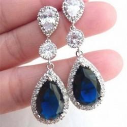 3. fülbevaló - Női 925 ezüst drágakő topáz nyaklánc medál gyűrűk fülbevalók ékszer szettek