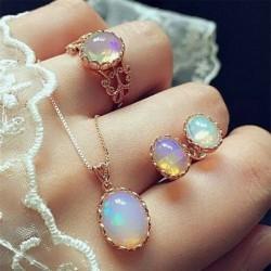 Fülbevaló   nyaklánc   gyűrű készlet - Női 925 ezüst drágakő topáz nyaklánc medál gyűrűk fülbevalók ékszer