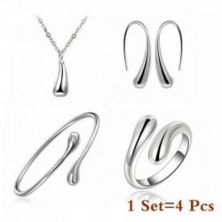 Ezüst szett - Női 925 ezüst drágakő topáz nyaklánc medál gyűrűk fülbevalók ékszer szettek