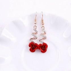 Nincs szín - Elegáns női ékszerek kristály vörös rózsa virág dangle fülbevalók esküvői ékszerek
